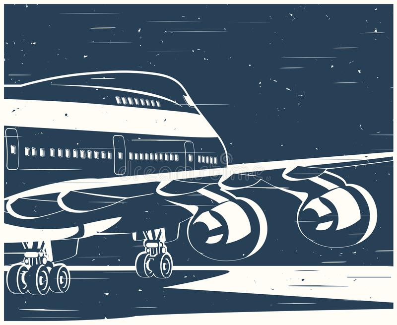 Big civil aircraft old poster. Stylized vector illustration on the theme of civil aviation. Modern jet airplane ready to take off in the old style poster royalty free illustration