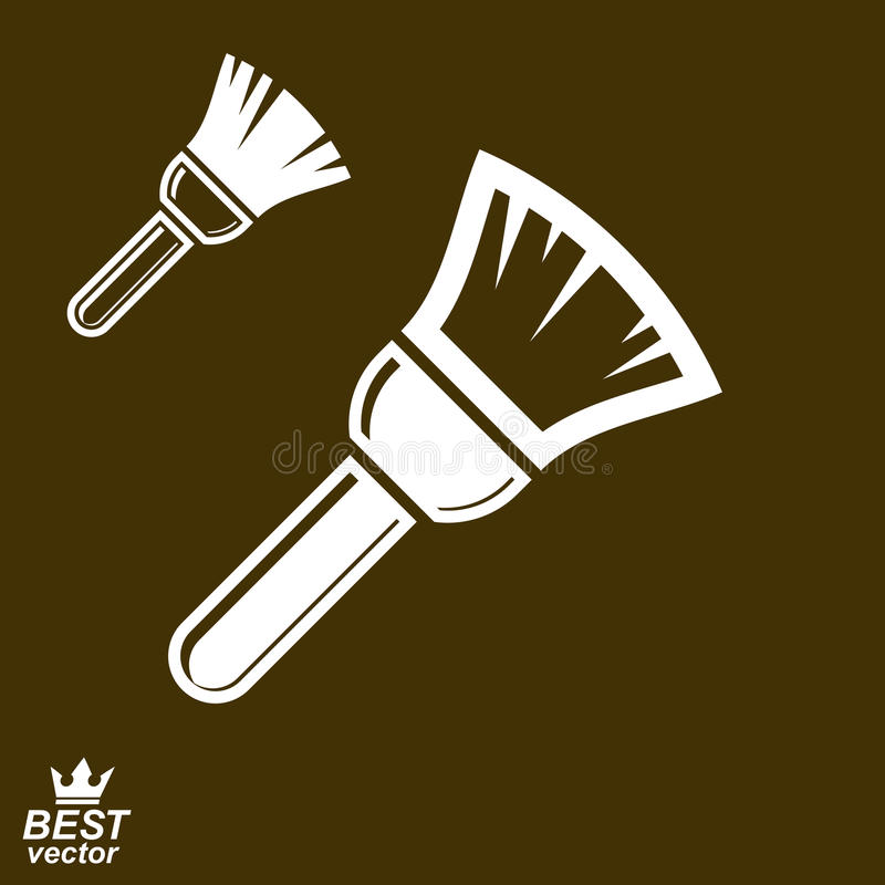 Stylized vector repair instrument – simple paint brush for whitewash, includes additional version. Industry tool, web element. royalty free illustration