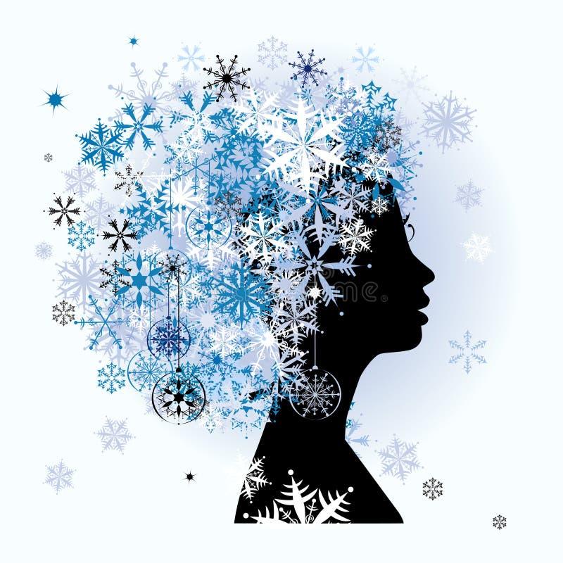 stylized vinterkvinna för frisyr säsong vektor illustrationer