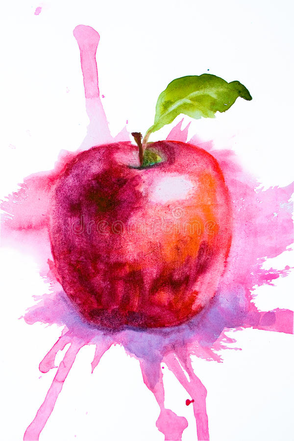 Stylized watercolor apple illustration. Stylized watercolor red apple illustration royalty free illustration