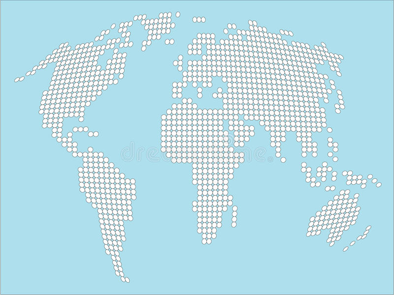 Download Stylized White Dotted World Map Stock Image - Image: 15977189