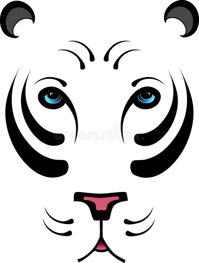 Stylized White Tiger - No Outline stock illustration