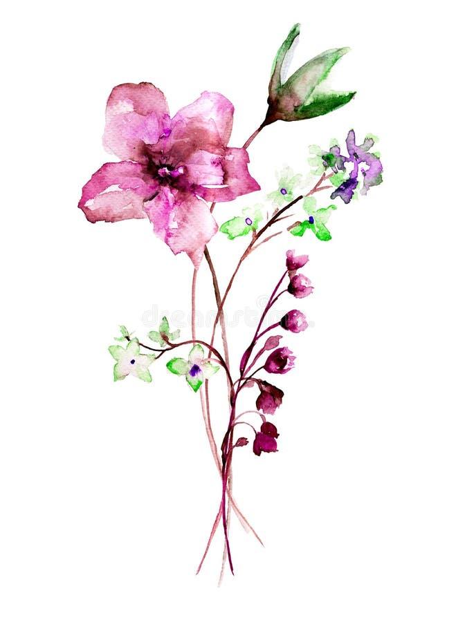 Stylized wild flowers royalty free illustration