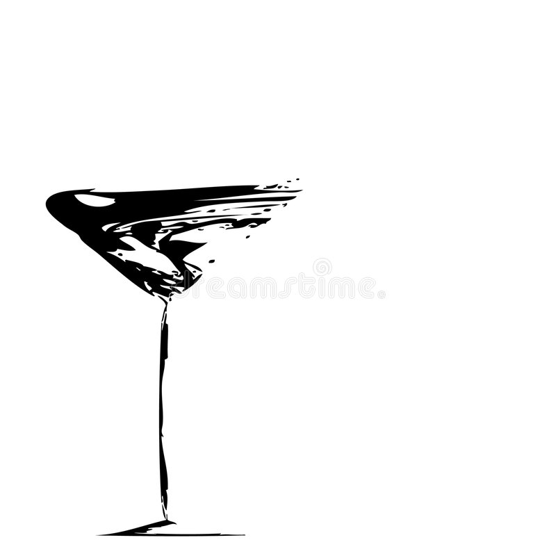 Abstract wineglass sketch. Abstract, black and white sketching of a wineglass royalty free illustration