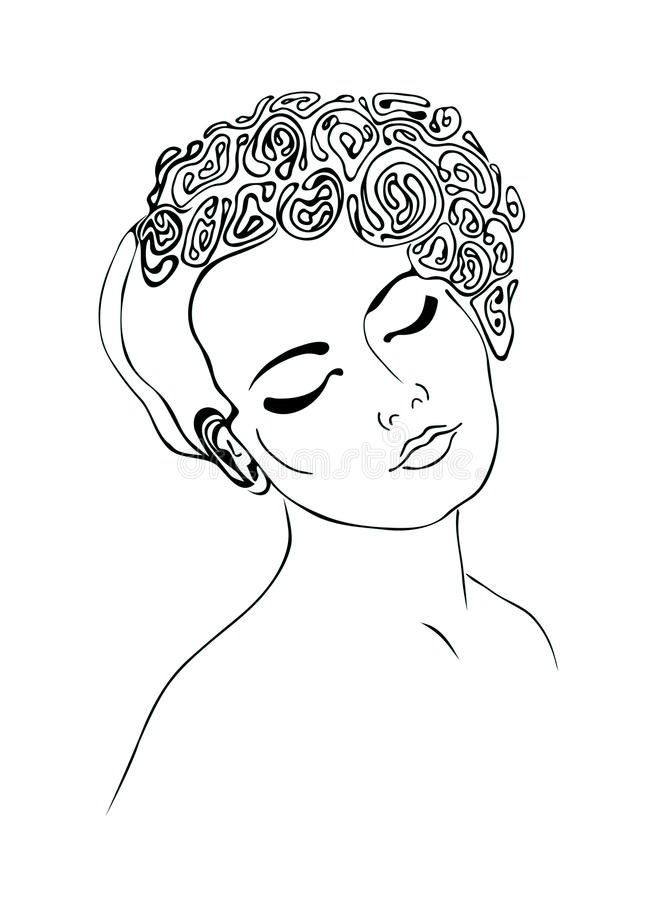 Stylized woman with flowers on her head. royalty free stock photography