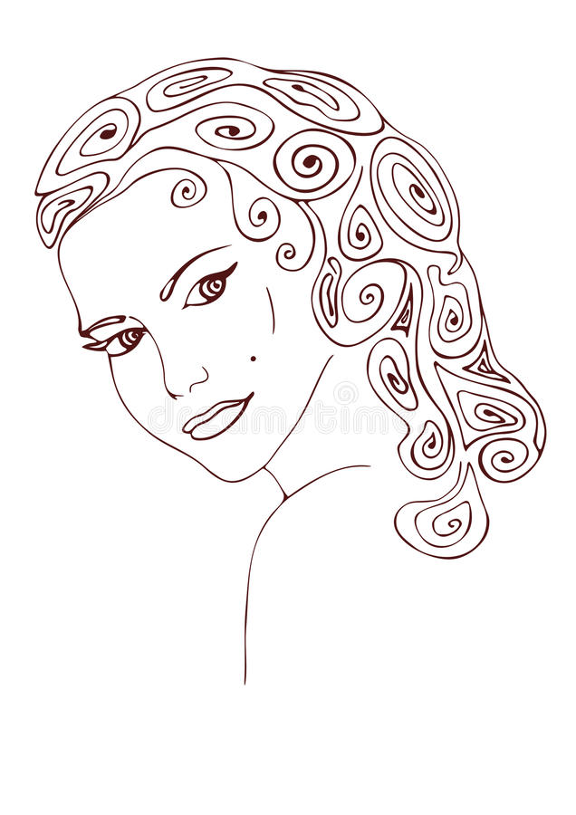 Beautiful young woman with curly hair. Stylized vector image. royalty free stock photography