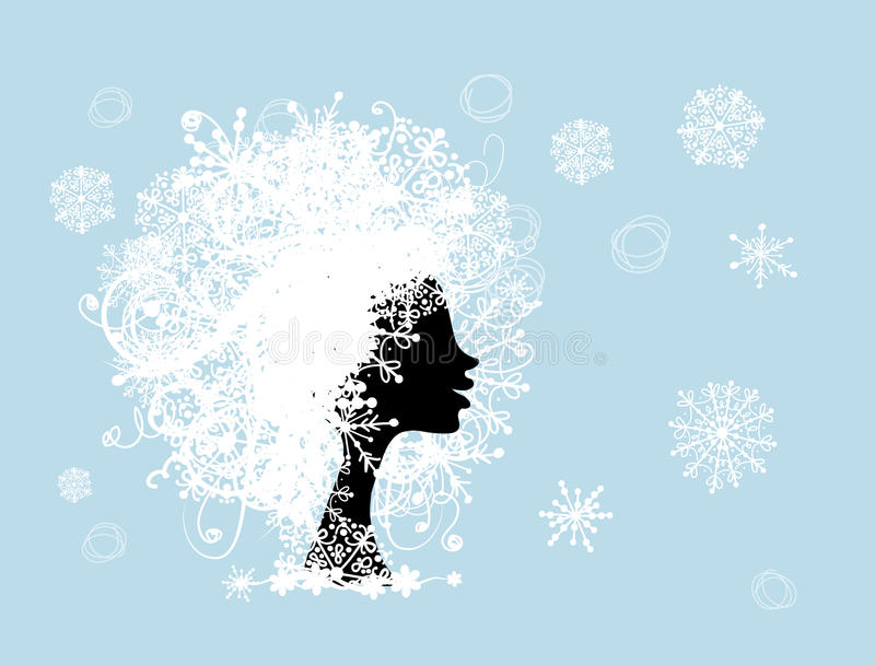 Download Stylized Woman Hairstyle With Snowflake. Winter Stock Photography - Image: 28934092