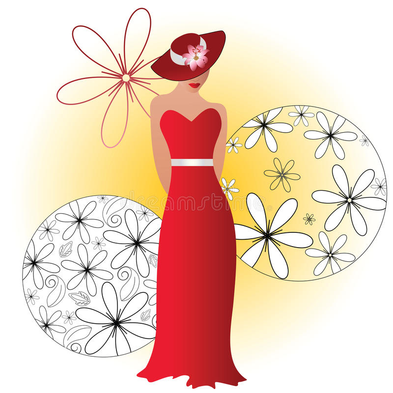 Stylized woman in hat and gown royalty free illustration