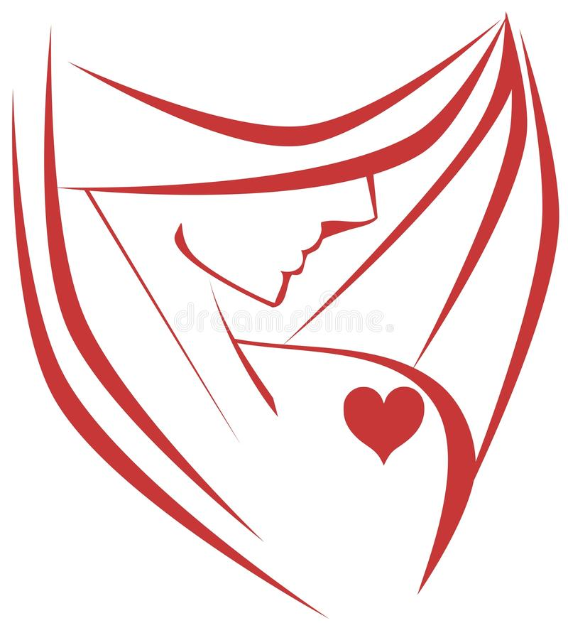 Stylized woman with heart royalty free stock photos