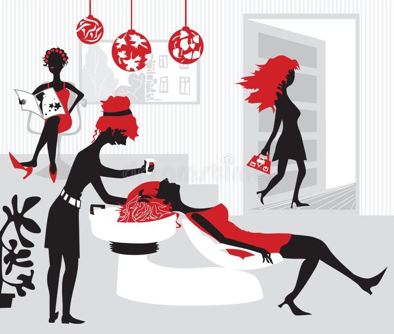 stylized wome för skönhetillustration salong stock illustrationer