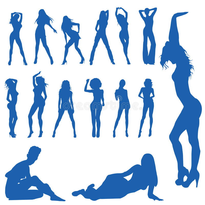 Stylized women silhouettes