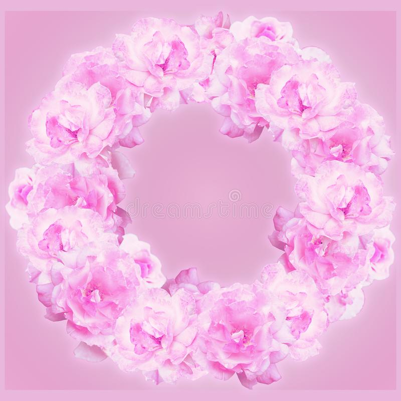 Stylized wreath of light pink roses stock photo