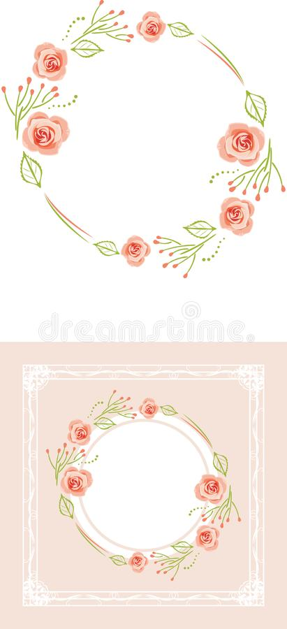Stylized wreath of pink roses for greeting card royalty free stock photo