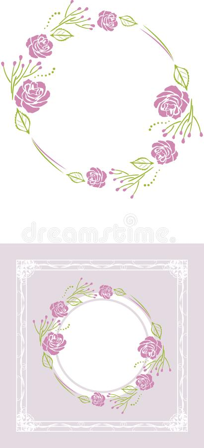 Stylized wreath of purple roses for greeting card royalty free stock photo