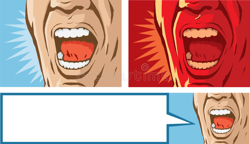 Stylized yelling mouth. Illustration of a mouth yelling vector illustration