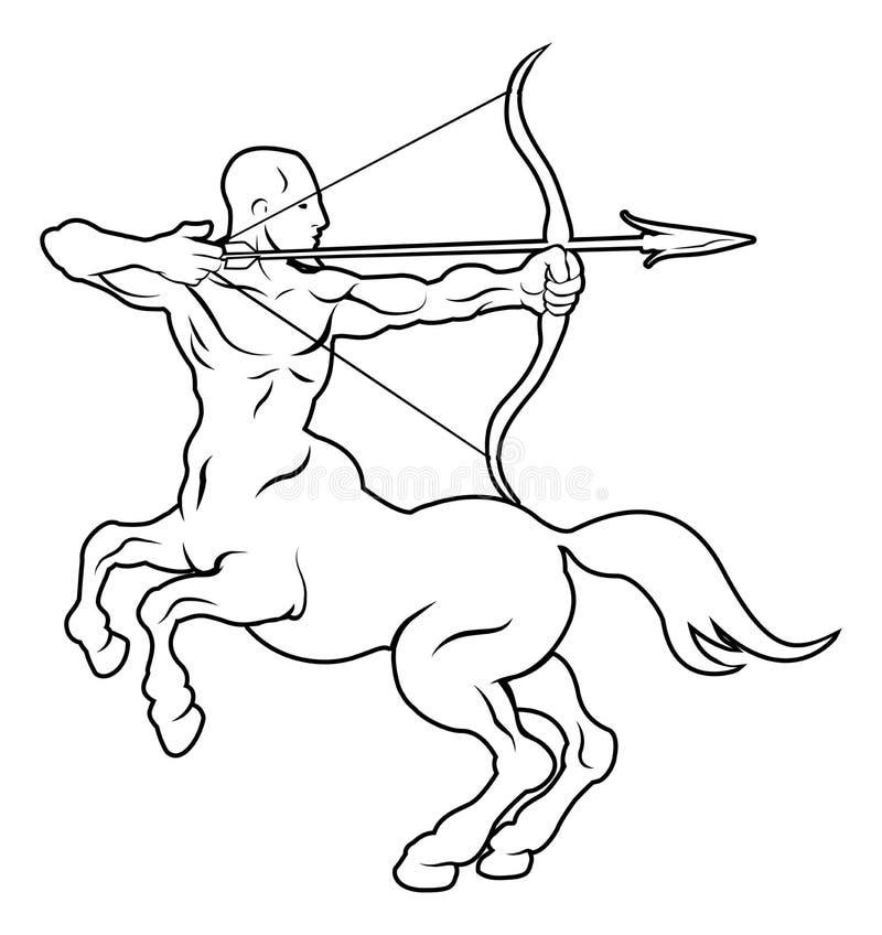 Stylizowana centaur łuczniczki ilustracja ilustracja wektor