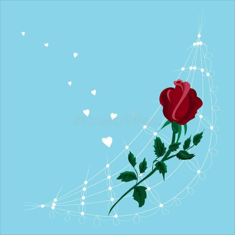 Stylizowana czerwień kwitnie roes Odizolowywaj?cy na b??kitnym tle royalty ilustracja