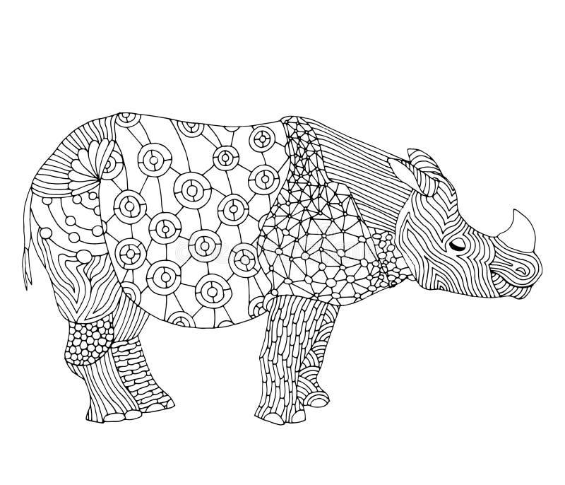 Stylizowana fantazja deseniująca nosorożec royalty ilustracja
