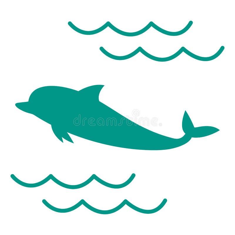 Stylizowana ikona barwiony delfin ilustracja wektor
