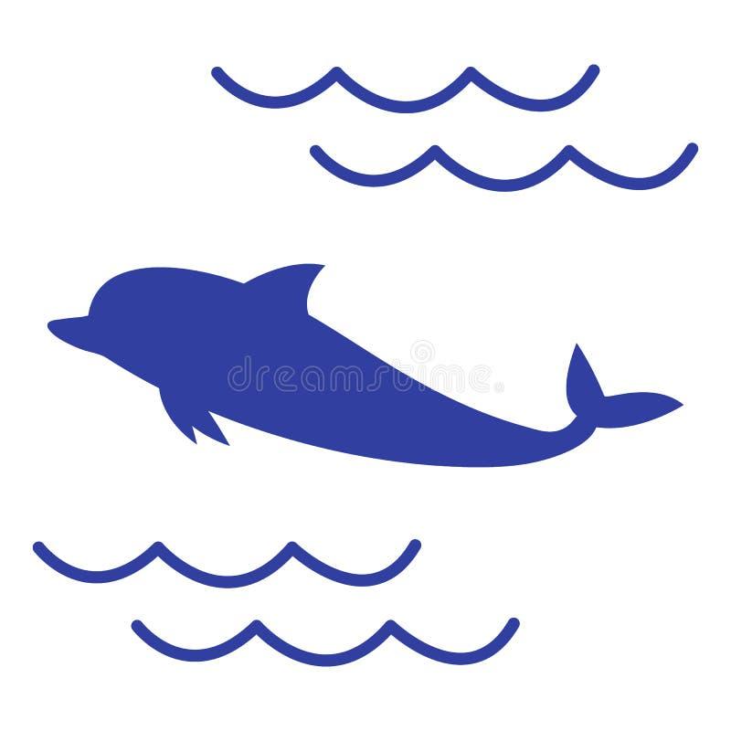 Stylizowana ikona barwiony delfin royalty ilustracja