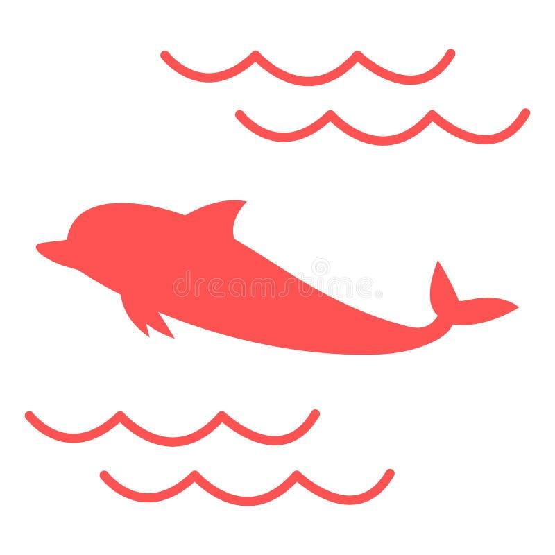 Stylizowana ikona barwiony delfin na bia?ym tle ilustracji