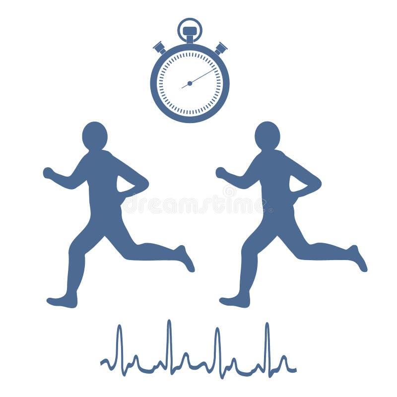 Stylizowana ikona dwa biegacza z stopwatch i serca rhyt royalty ilustracja
