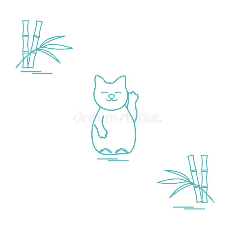 Stylizowana ikona japoński szczęsliwy kot Maneki Neko ilustracji