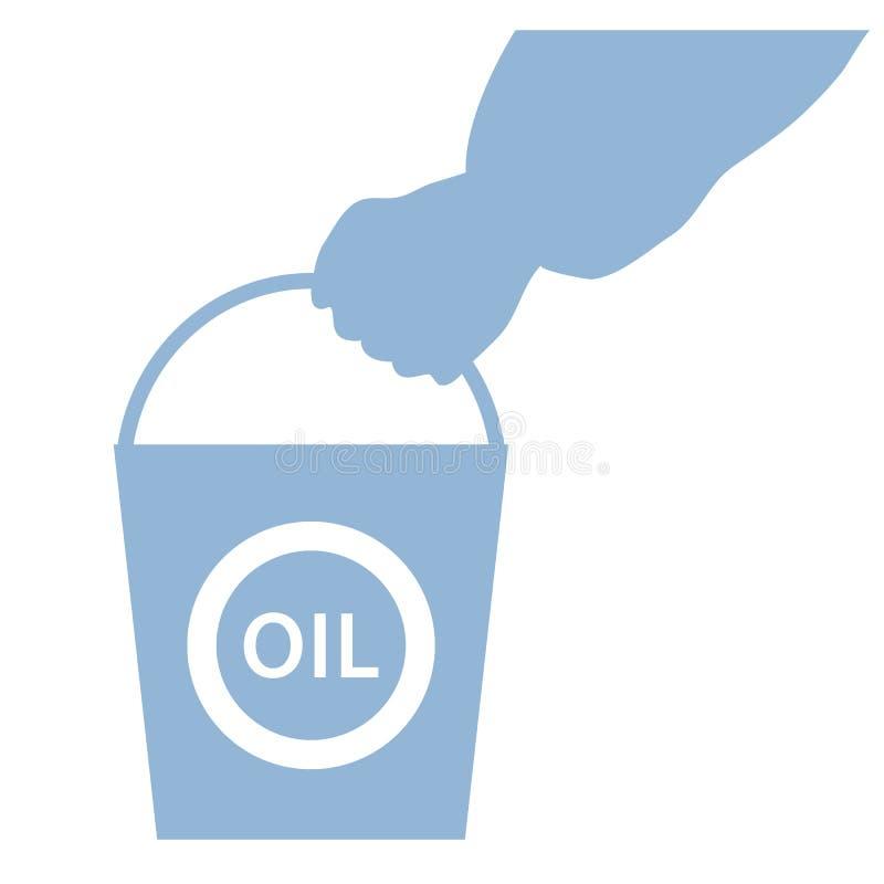 Stylizowana ikona ręka niesie wiadro olej royalty ilustracja