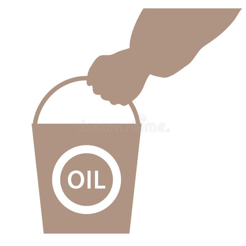 Stylizowana ikona ręka niesie wiadro olej ilustracja wektor