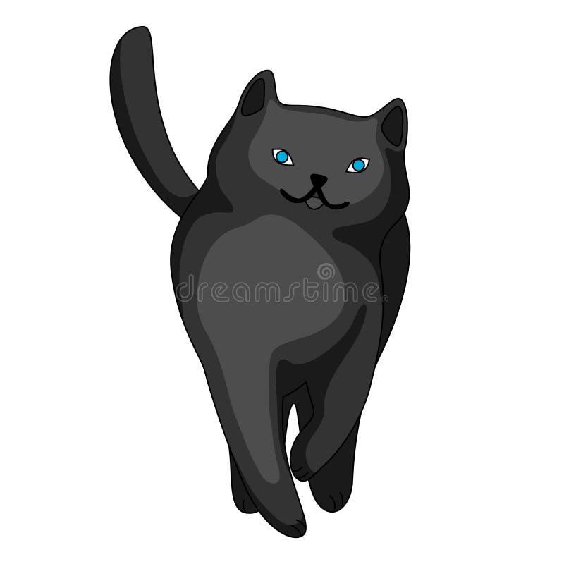 Stylizowana ilustracja kreskówka czarny kot ilustracji