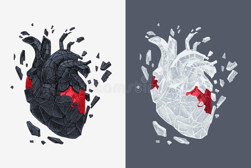 Stylizowana ilustracja serce zakrywał łupanie z kamieniem ilustracji