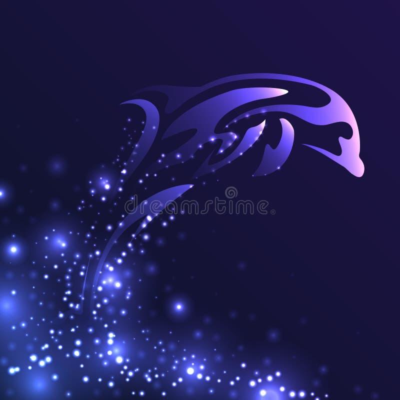 Stylizowana ilustracja skokowy delfin z błyska ilustracja wektor
