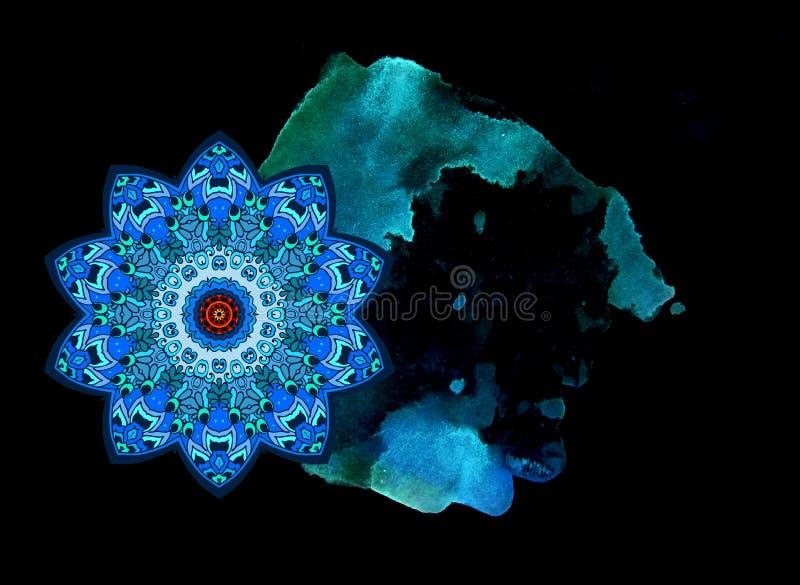 Stylizowana kometa w kszta?ta kwiatu mandala i akwarela dostrzegamy, symbolizuj?cy ogon pozaziemski wz?r Pi?kna karta, ulotka ilustracji