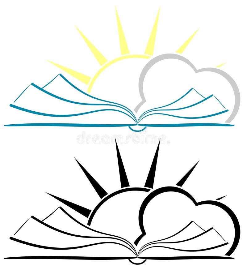 Stylizowana książka z słońcem i chmurą odizolowywającymi ilustracji