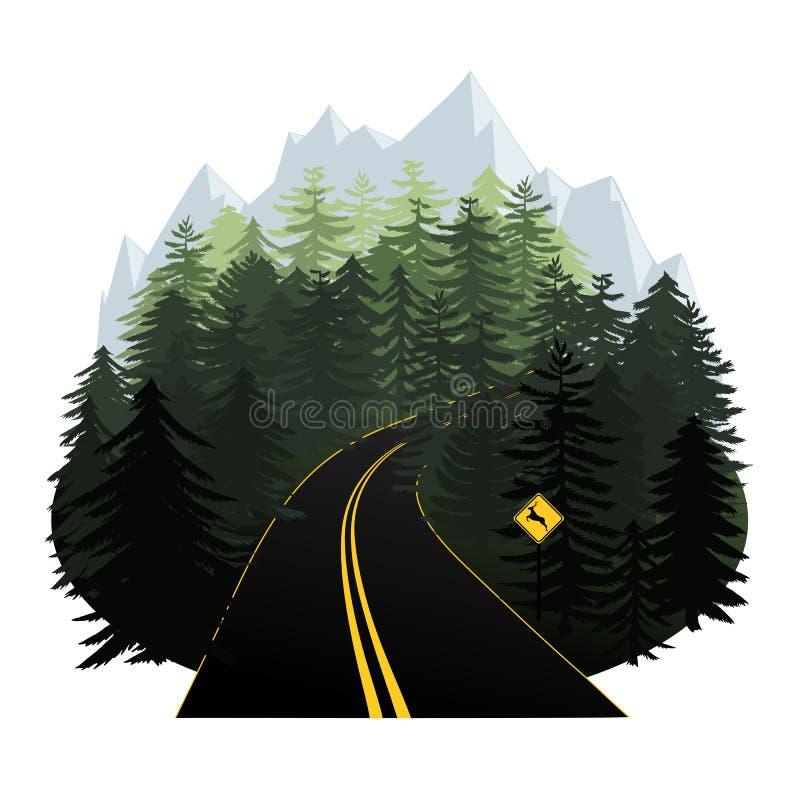 Stylizowana lasowej drogi wektorowa ilustracja z górami w h ilustracja wektor