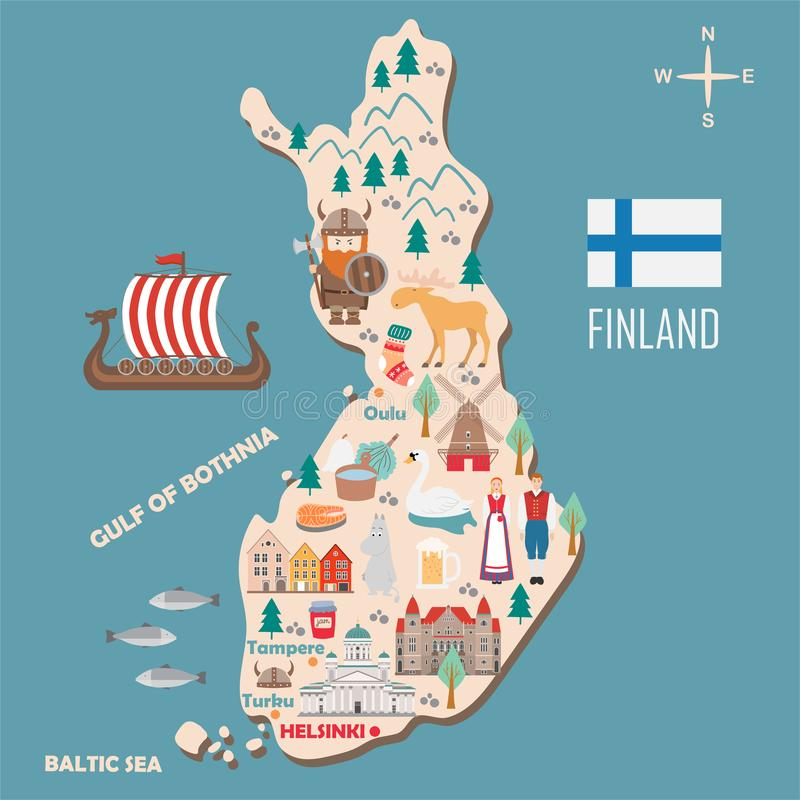 Stylizowana mapa Finlandia ilustracja wektor