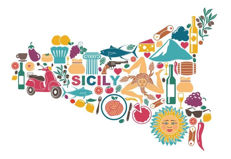 Stylizowana mapa Sicily z tradycyjnymi symbolami ilustracji