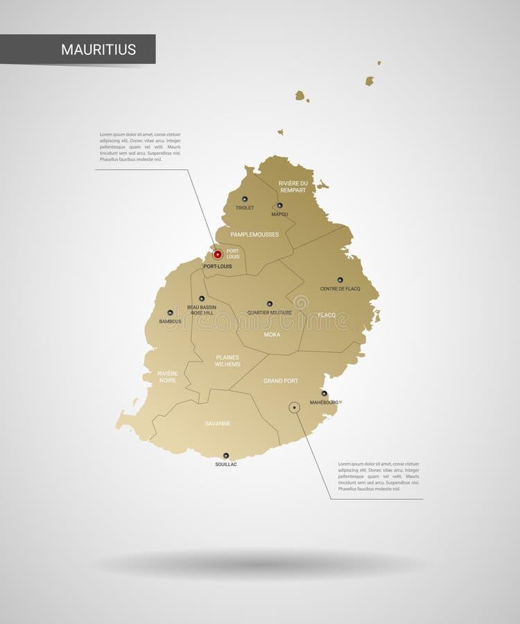 Stylizowana Mauritius mapy wektoru ilustracja royalty ilustracja