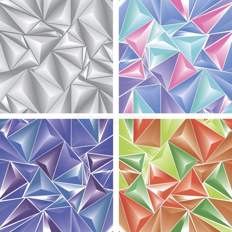 Stylizowana ornament tekstura z trójgraniastym wzorem, czerwień, zieleń, purpura, popielaci, błękitni elementy, ilustracji