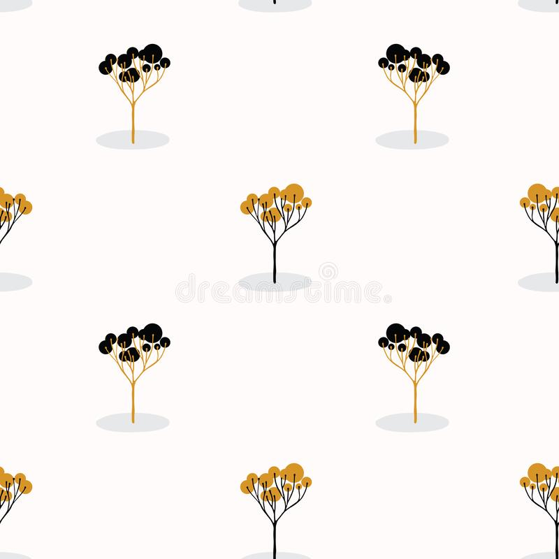 Stylizowana Pojedyncza Drzewna Drewniana Wielostrzałowa Bezszwowa Deseniowa pomarańcze ilustracji