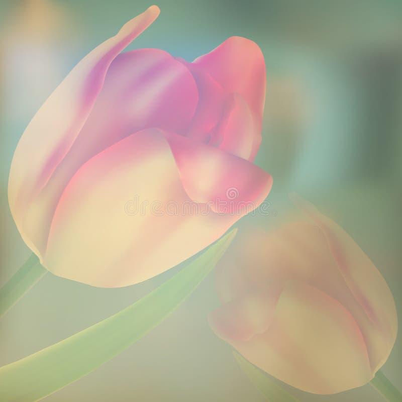 Stylizowana rocznik karta z czerwonymi tulipanami. EPS 10 royalty ilustracja