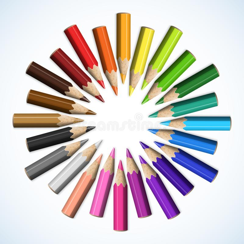 Stylizowana Round gwiazda Barwioni ołówki Odizolowywający na Białym Backgro royalty ilustracja