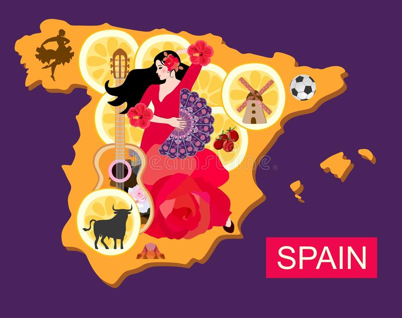 Stylizowana Spain mapa z flamenco tancerza dziewczyną, gitarą, czarnym bykiem, młynem, futbolem, kawałkami cytryna i toreador syl royalty ilustracja