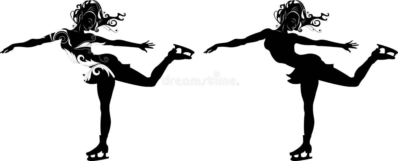 Stylizowana sylwetka dziewczyna na łyżwach ilustracja wektor