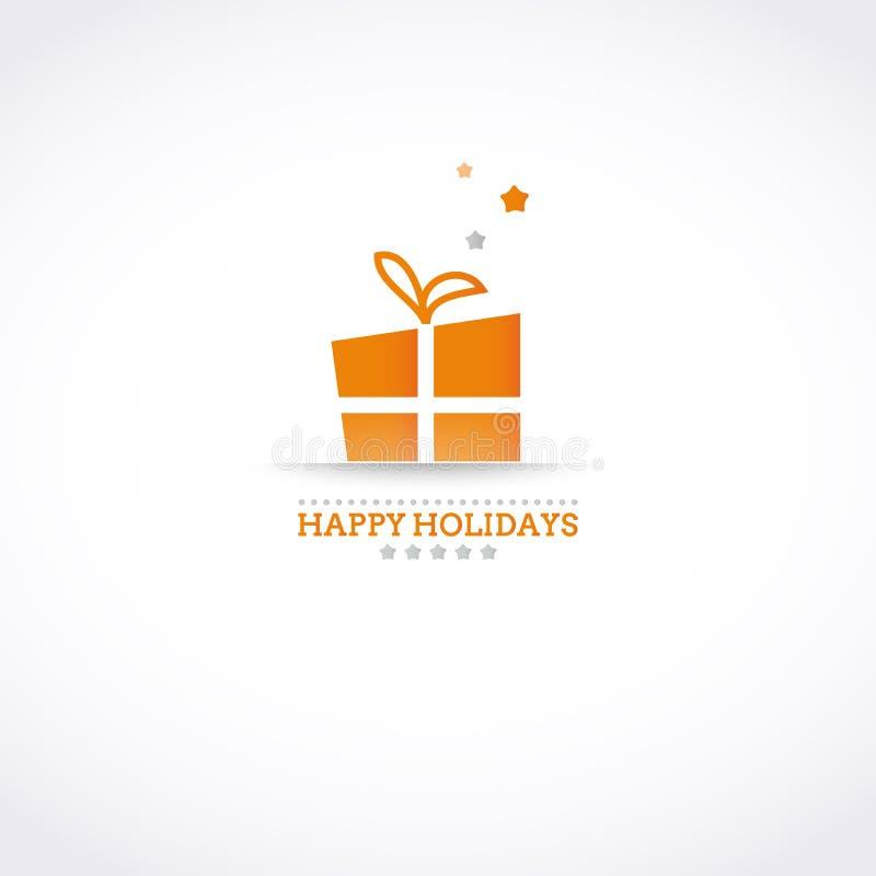 Stylizowana Szczęśliwa wakacje karta z wakacyjnego prezenta pudełkiem ilustracja wektor