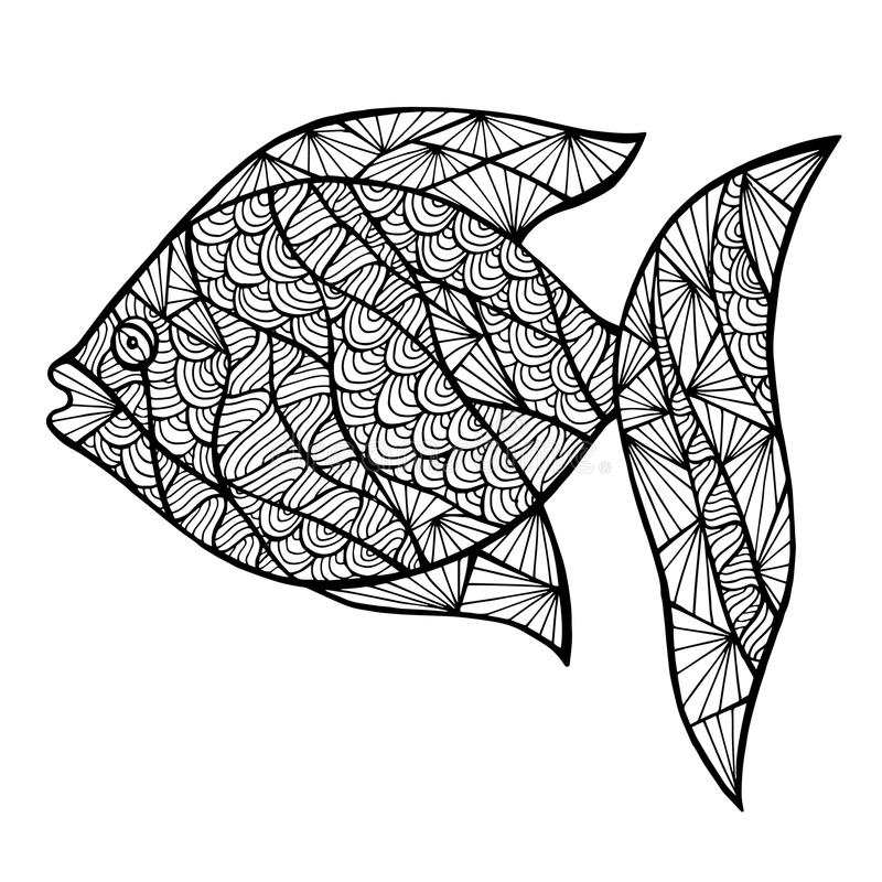 Stylizowana wektor ryba, zentangle royalty ilustracja