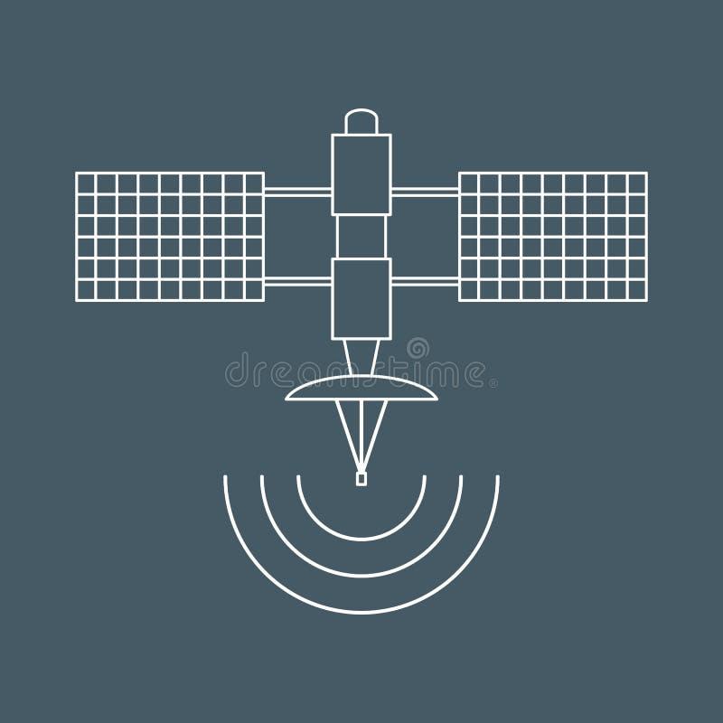 Stylizowana wektorowa ikona astronautyczna satelita ilustracji
