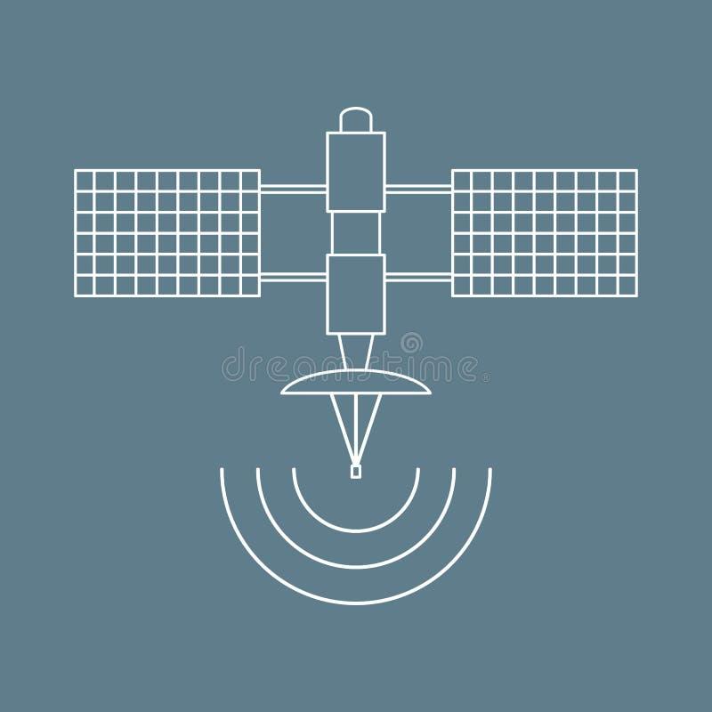 Stylizowana wektorowa ikona astronautyczna satelita ilustracja wektor
