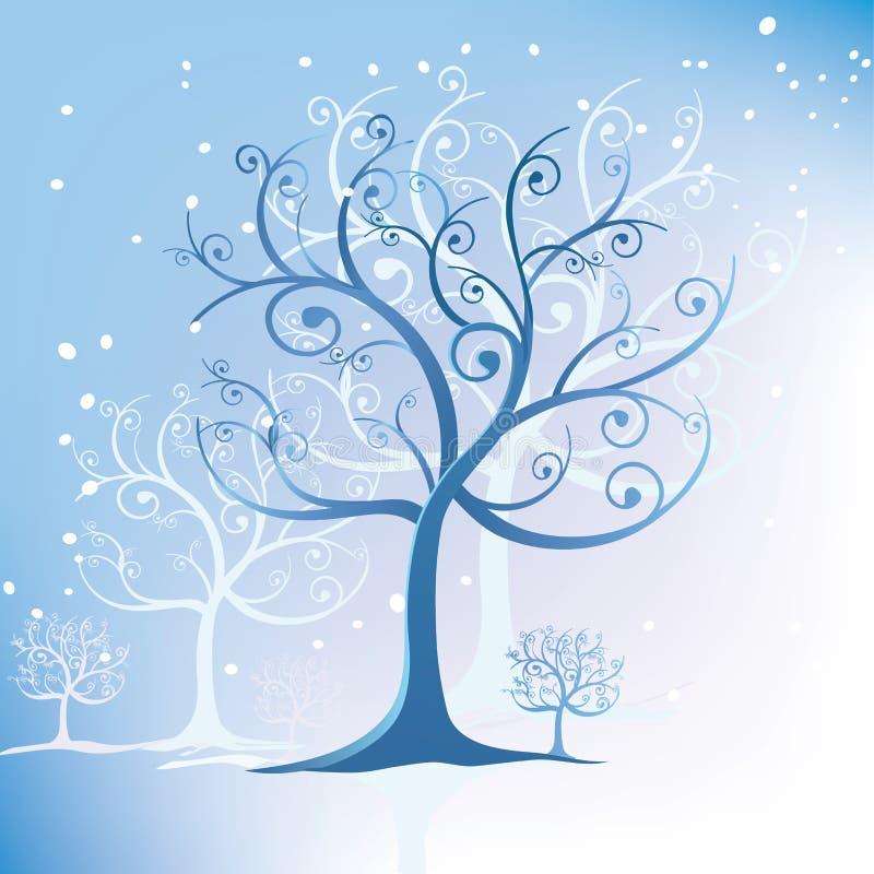 stylizowana zawijasów drzewa zima ilustracji
