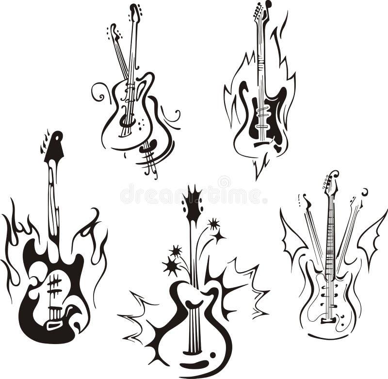 Stylizowane gitary ilustracja wektor